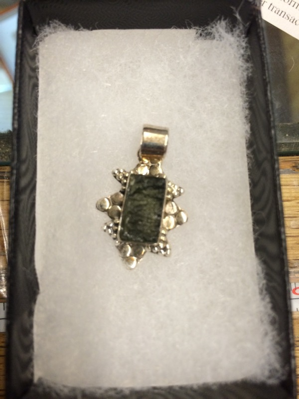 PENDANT/CHARM JEWELRY JEWELRY ANA-SILVER-CO 326279; CZECH MOLDAVITE IN STERLING