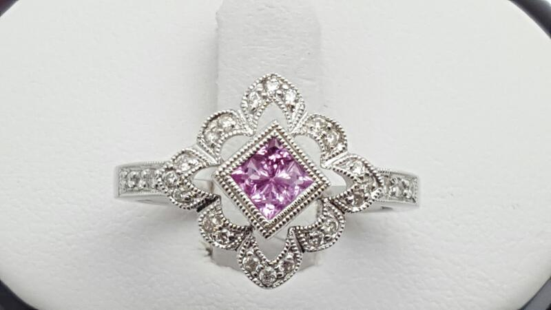 Lady's Pink Sapphire & Diamond Ring 26 Diamonds .22 Carat T.W. 14K White G