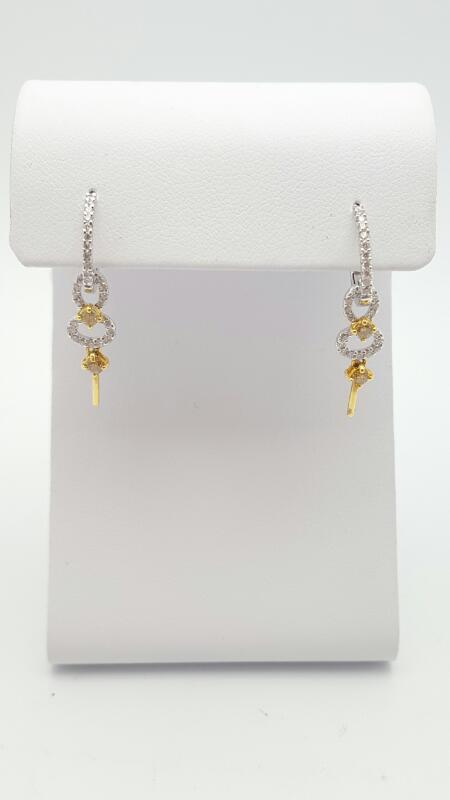 Gold-Diamond Earrings 64 Diamonds .50 Carat T.W. 18K 2 Tone Gold 2.6g