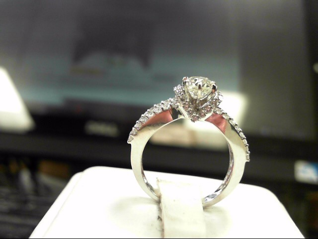 Lady's Diamond Solitaire Ring 55 Diamonds 1.17 Carat T.W. 14K White Gold 3.3g