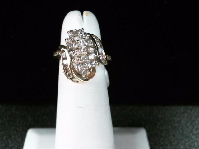 Lady's Diamond Cluster Ring 36 Diamonds .92 Carat T.W. 14K Yellow Gold 4.3g