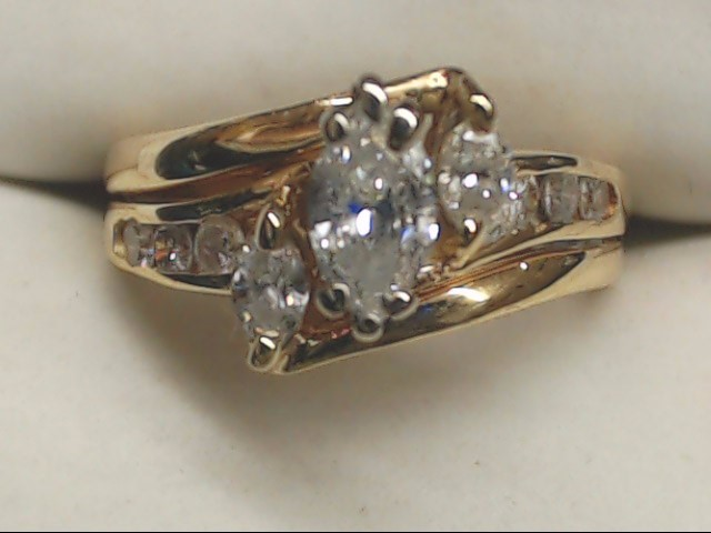 Lady's Diamond Engagement Ring 10 Diamonds 1.30 Carat T.W. 14K Yellow Gold 4.9g