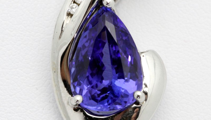 Tanzanite Gold & Diamond Pendant 6 Diamonds .12 Carat T.W. 14K White Gold