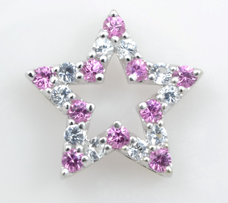STAR SOLID 10K WHITE GOLD PINK ICE CZ CHARM PENDANT FINE ESTATE 1.3G
