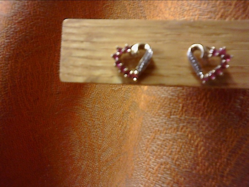 HEART SHAPE WITH RUBYS DIA CHIPS EARRINGS SET IN YELLOW GOLD