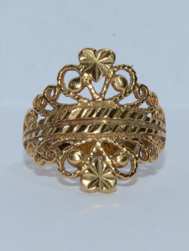 18K Yellow Gold Filigree Diamond Cut Statement Ring s. 5.75
