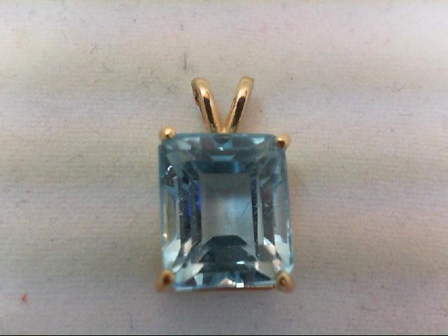 Blue Topaz Gold-Stone Pendant 14K Yellow Gold 2.7g