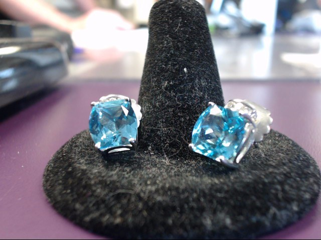 Blue Topaz Gold-Diamond & Stone Earrings 6 Diamonds .06 Carat T.W.