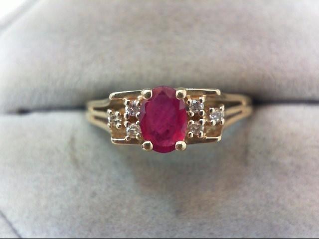 Ruby Lady's Stone & Diamond Ring 6 Diamonds .06 Carat T.W. 14K Yellow Gold 2.4g