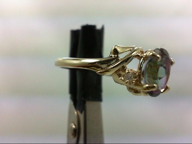 Blue Topaz Lady's Stone & Diamond Ring 2 Diamonds 0.06 Carat T.W. 14K Yellow Gol