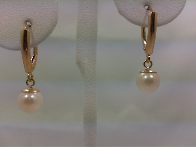 Pearl Gold-Stone Earrings 14K Yellow Gold 1.8g