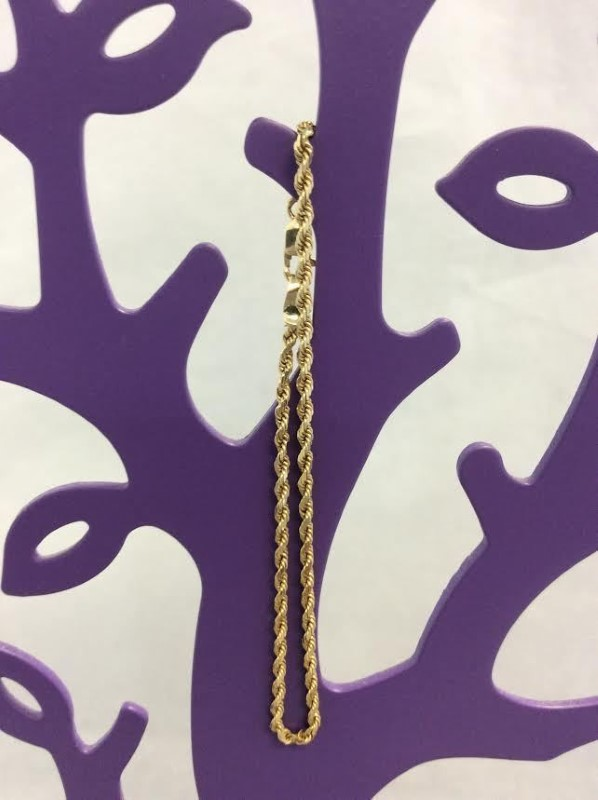 Elegant 14K Yellow Gold Rope Chain Bracelet Lobster Claw Clasp 7 Inch 2.1 Grams