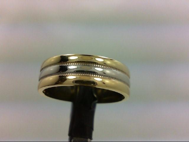 Lady's Gold Wedding Band 18K 2 Tone Gold 7.4g Size:6.25