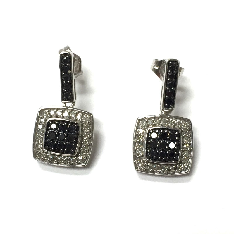 Gold-Black & White Diamond Earrings 68 Dias .68 Carat T.W. 14K White Gold 1.8dwt