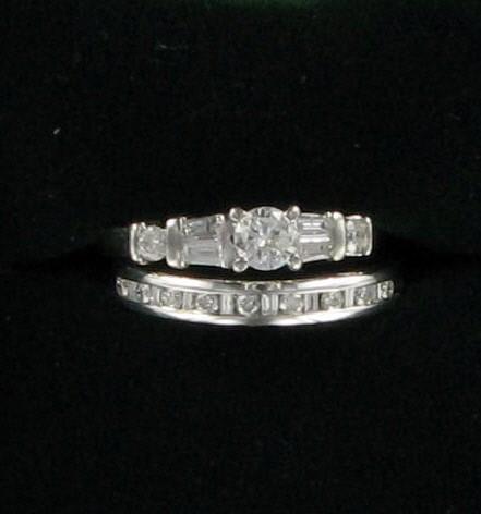 Lady's Diamond Wedding Set 16 Diamonds .86 Carat T.W. 14K White Gold 4.2dwt