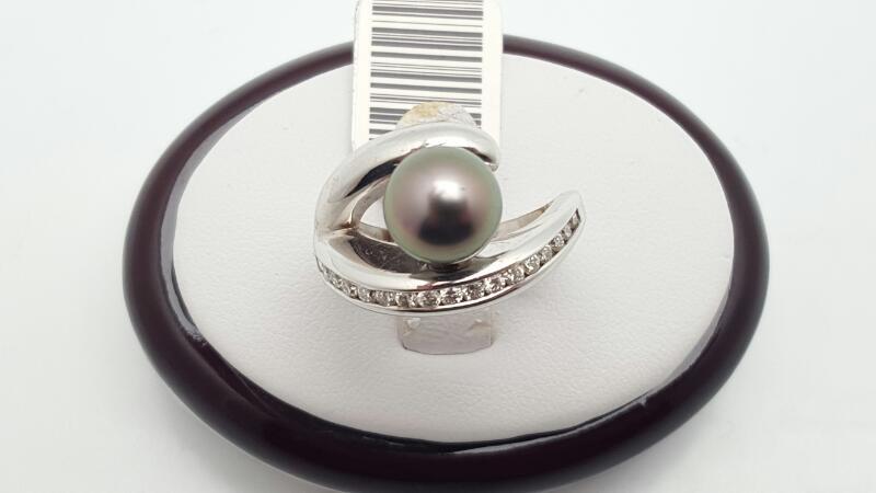 Pearl Lady's & Diamond Ring 18 Diamonds .36 Carat T.W. 18K White Gold