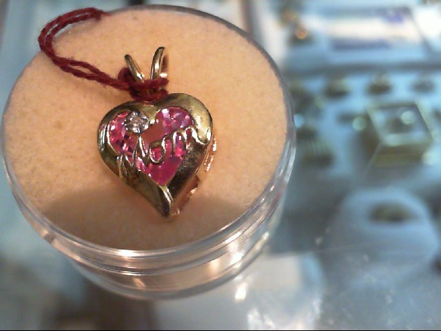 Pink Sapphire Gold-Diamond & Stone Pendant .01 CT. 14K Yellow Gold 1.4g