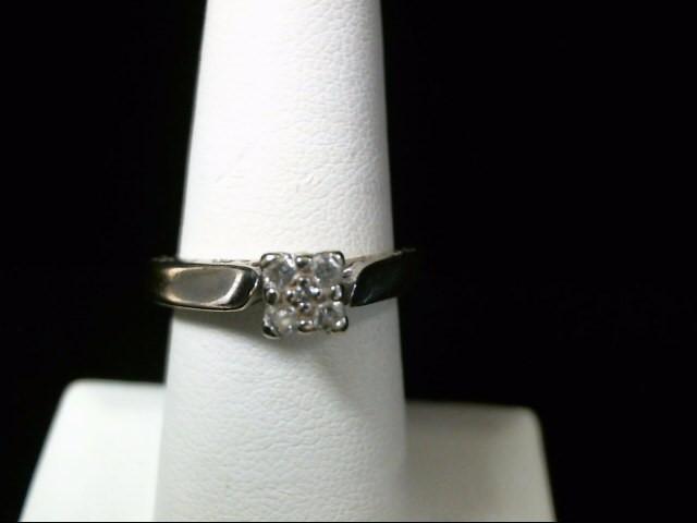 Lady's Diamond Engagement Ring 5 Diamonds .17 Carat T.W. 10K White Gold 3.1g