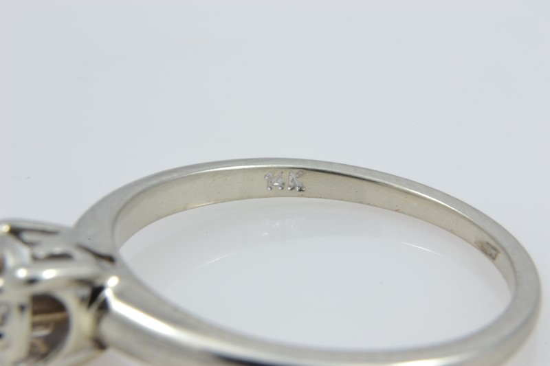 ESTATE DIAMOND RING SOLID 14K WHITE GOLD ENGAGEMENT BRIDE SIZE 6.5