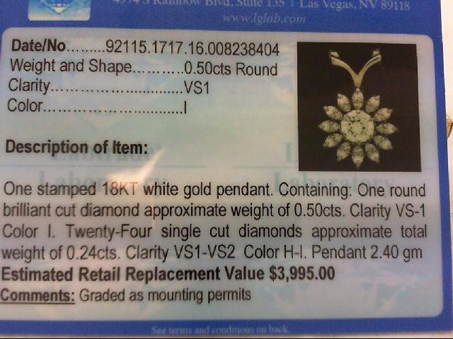 Gold-Multi-Diamond Pendant 25 Diamonds .74 Carat T.W. 18K White Gold 2.4g