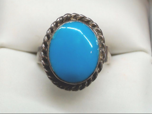 Blue Stone Lady's Silver & Stone Ring 925 Silver 7.4g Size:6