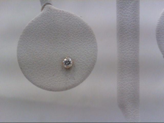 Gold-Diamond Earrings 2 Diamonds 0.14 Carat T.W. 14K Yellow Gold 0.3g