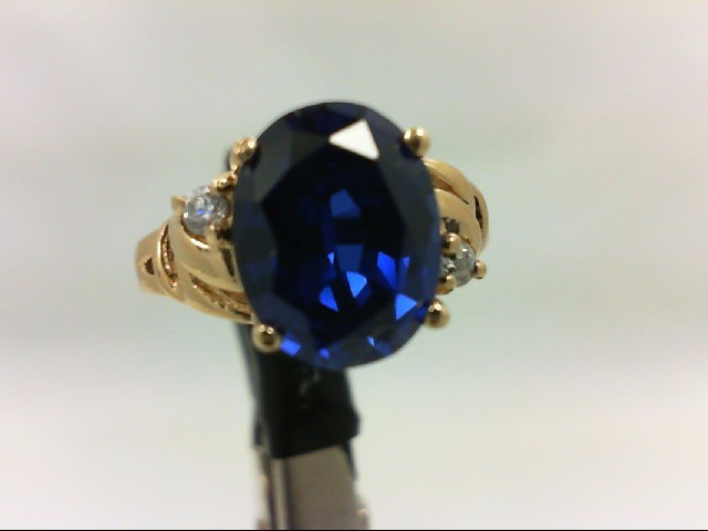 Sapphire Lady's Stone Ring 14K Yellow Gold 3.1g Size:5
