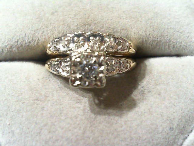 Lady's Diamond Wedding Set 11 Diamonds .25 Carat T.W. 14K 2 Tone Gold 3.3g