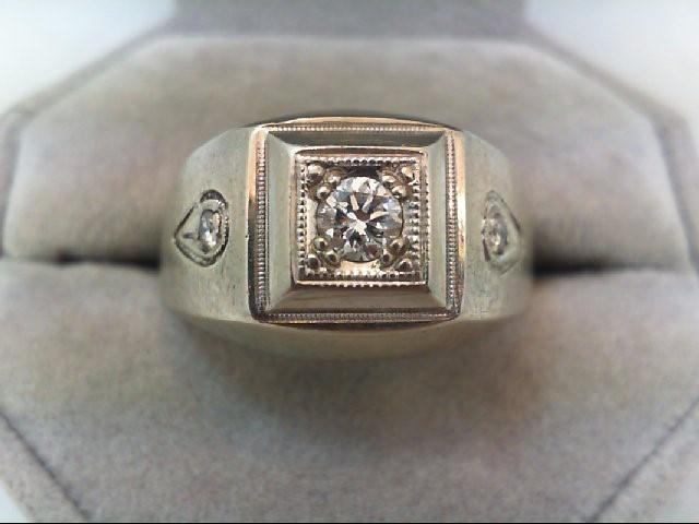 Lady's Diamond Fashion Ring 3 Diamonds .43 Carat T.W. 14K White Gold 14.5g