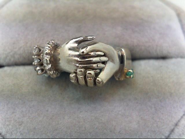 Lady's Stone & Diamond Ring 3 Diamonds 0.06 Carat T.W. 14K White Gold 5.4g