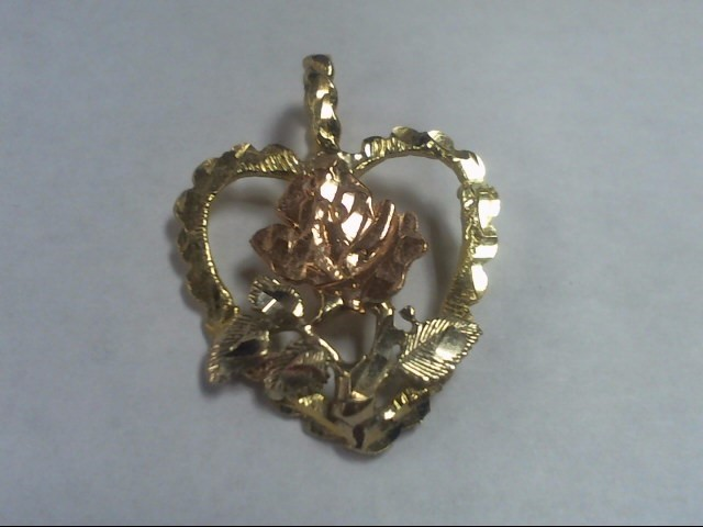Gold HEART Pendant 14K Tri-color Gold CHARM 2.5g