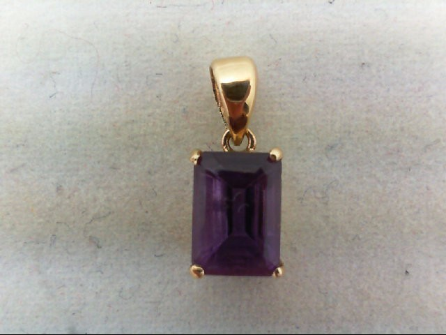 Amethyst Gold-Stone Pendant 14K Yellow Gold 0.6g