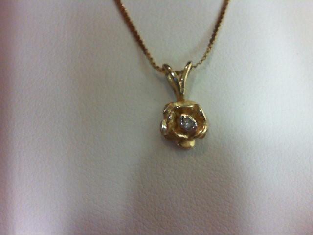 Gold-Diamond Solitaire Pendant 0.03 CT. 14K Yellow Gold 1.78g