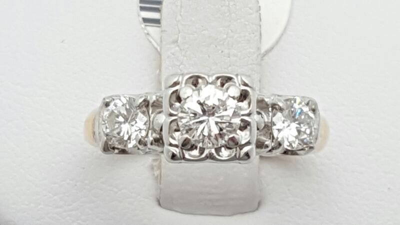 Lady's Diamond Engagement Ring 3 Diamonds .82 Carat T.W. 14K 2 Tone Gold 3.7g