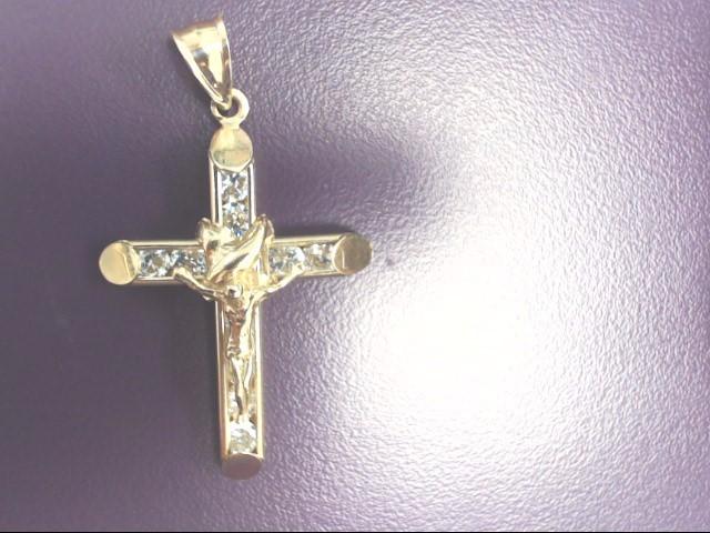 Crucifix Cubic Zirconia Gold-Stone Pendant 10K Yellow Gold 4.1g