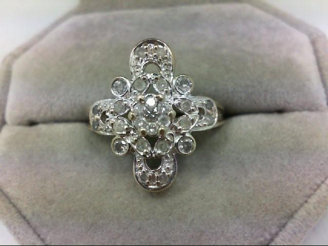 Lady's Diamond Cluster Ring 27 Diamonds 0.77 Carat T.W. 10K White Gold 5g Size:6