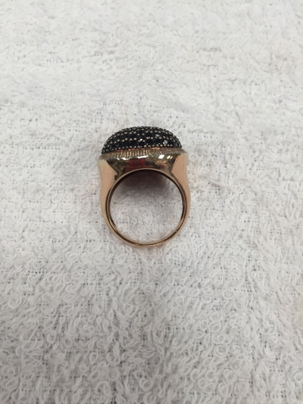 Synthetic Onyx Lady's Silver & Stone Ring 925 Silver 10g Size:8