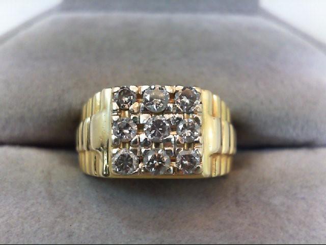 Gent's Diamond Fashion Ring 9 Diamonds .63 Carat T.W. 10K Yellow Gold 5.8g
