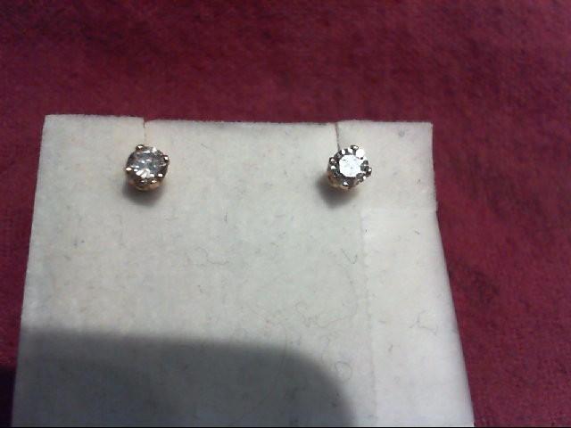 Gold-Diamond Earrings 2 Diamonds .26 Carat T.W. 10K Yellow Gold 0.5g