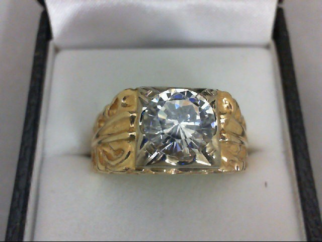 Synthetic White Stone Gent's Stone Ring 14K Yellow Gold 12g