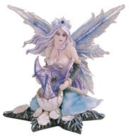 "GEORGE S. CHEN 91379 BLUE FAIRY ON A STAR 5"" TALL"
