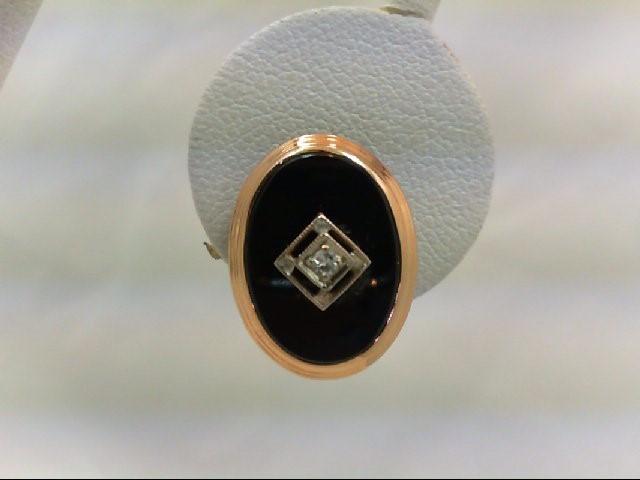Gold-Diamond Earrings 2 Diamonds .08 Carat T.W. 14K Yellow Gold 3.41g