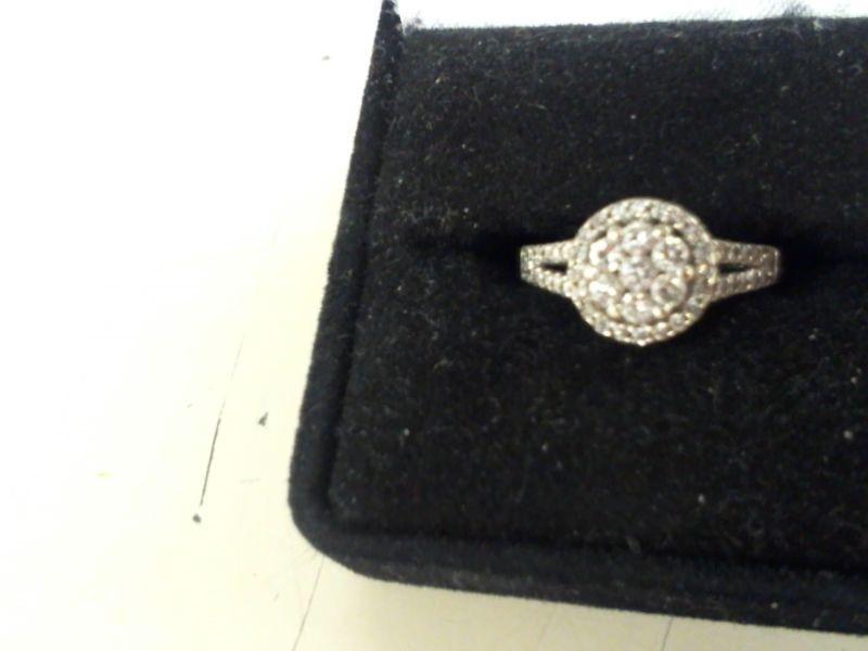 Lady's Diamond Cluster Ring 47 Diamonds 1.15 Carat T.W. 14K White Gold 2.9g