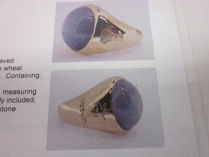 Star Sapphire Stone Ring 18K Yellow Gold 9g