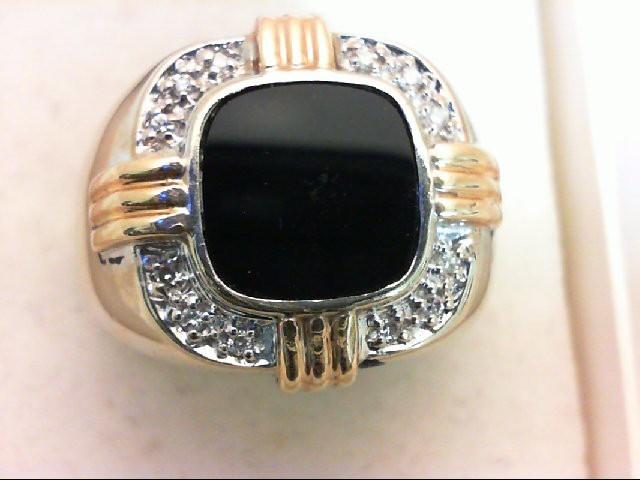 Onyx Gent's Stone & Diamond Ring 12 Diamonds 0.24 Carat T.W. 14K 2 Tone Gold 13.