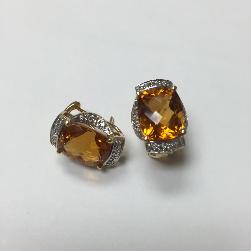Checkerboard Citrine Gold-Diamond & Stone Earrings 28 Diamonds .28 Carat T.W.