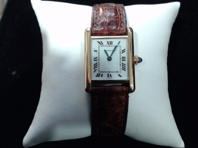 CARTIER Lady's Wristwatch TANK LOUIS CARTIER 18K W/LEATHER STRAP