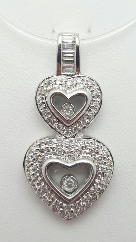18kw Gold Double Heart Pendant 67 Diamonds .46 Carat T.W. 5.4g
