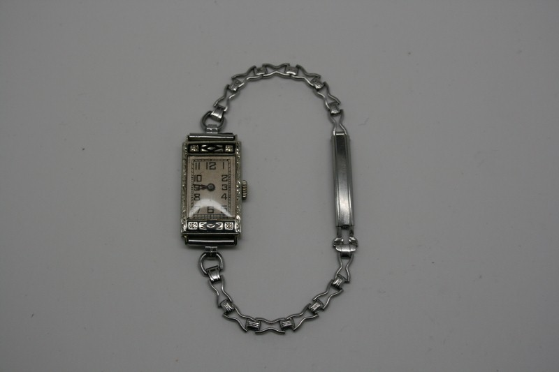 GALLET & CO  LADY'S ANTIQUE WATCH 18K WHITE GOLD CASE