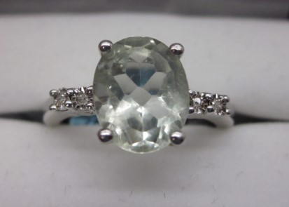 Lady's Silver-Diamond & Stone Ring Size 7